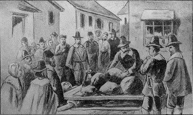 An illustration of the execution of Giles Corey.