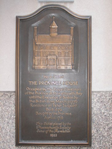 plaque showing the province house