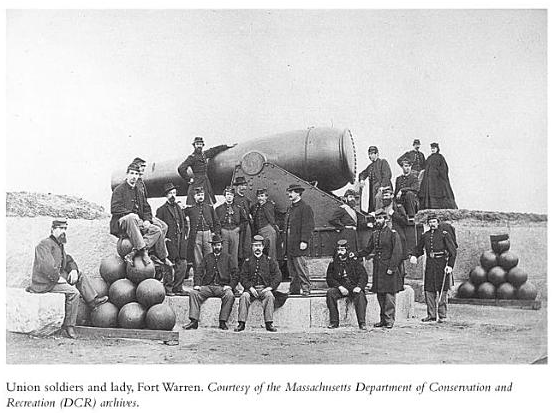 union soldiers and lady in front of a cannon