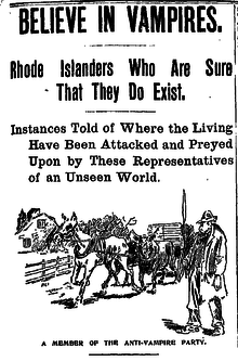 A satirical cartoon from the Boston Daily Globe accompanying an article describing superstitious beliefs in rural Rhode Island