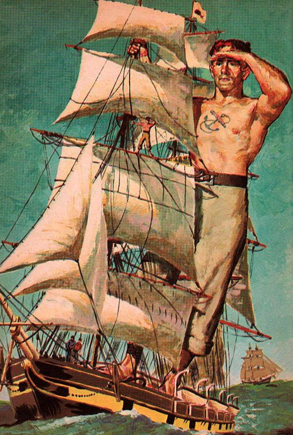 """Tall Tales of America"" by Irwin Shapiro illustrated by Al Schmidt Weekly Reader Children's Book Club 1958 lOrd Stomalong as a giant on his ship"