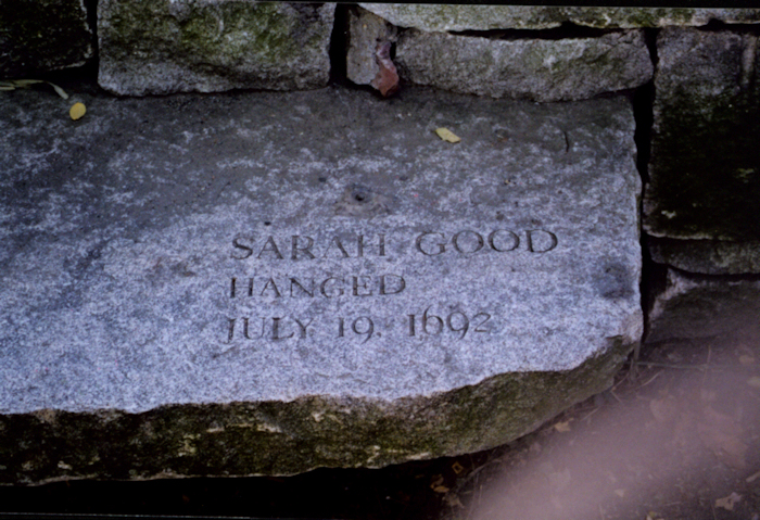photo shows Sarah Good, an accused and executed witch's, memorial stone.