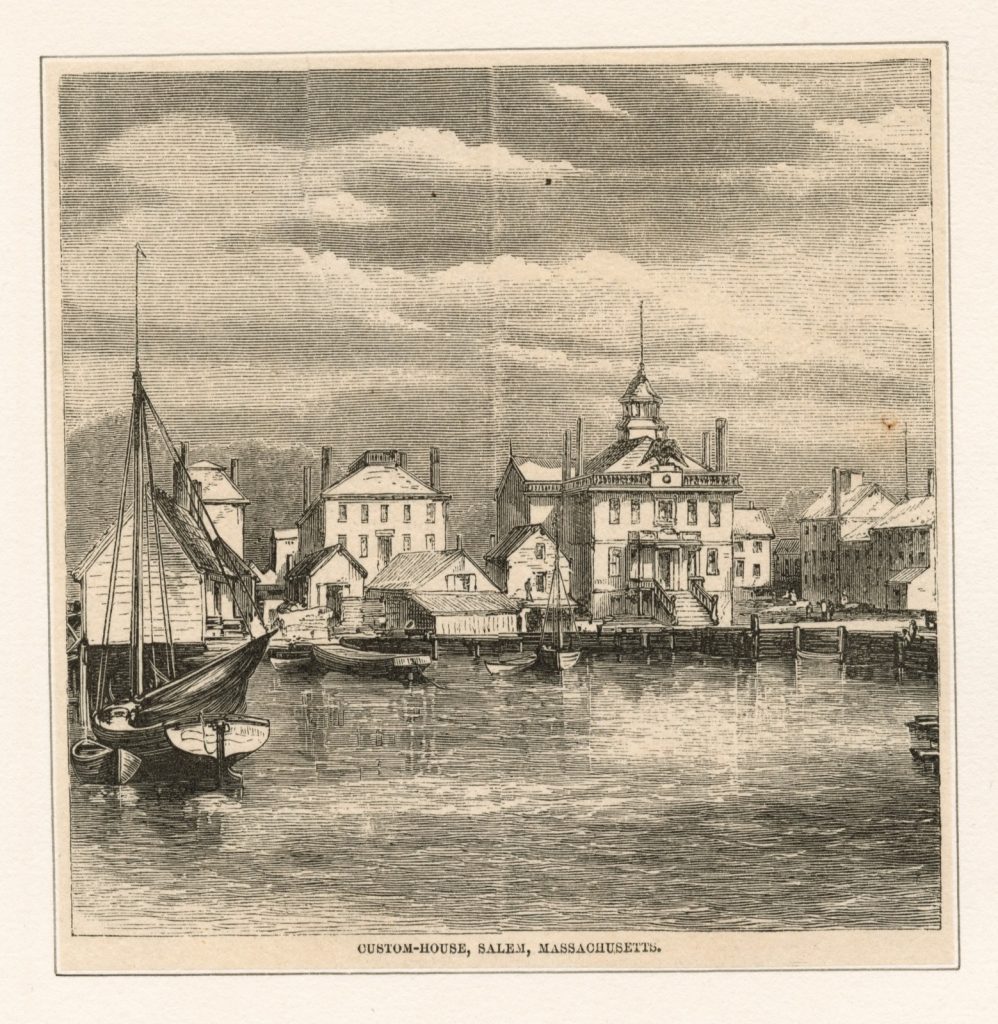 An illustration of a bayside view of the city of salem's skyline.