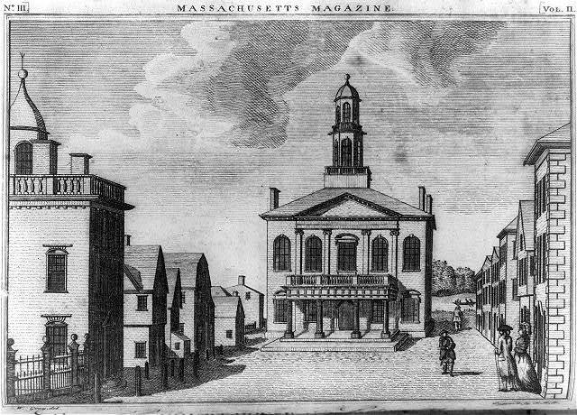 An illustration of the Salem county courthouse as it was during the witch trials.