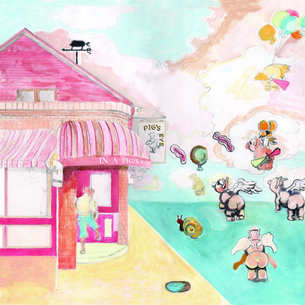 photo is a colorful illustration showing the mercy tavern, with pigs flying all around it.