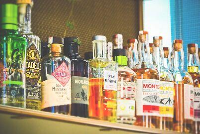 photo shows a group of liquor bottles