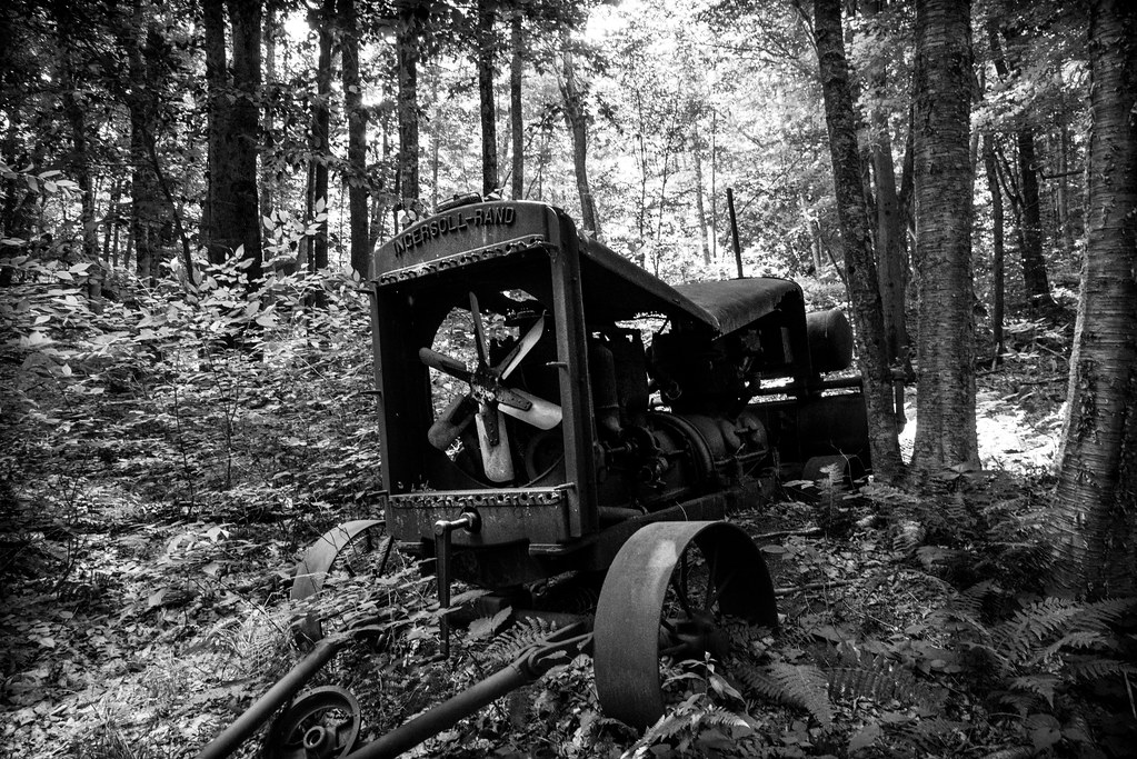 photo shows a decrepit tractor in the depth of the woods, rusting and falling apart.
